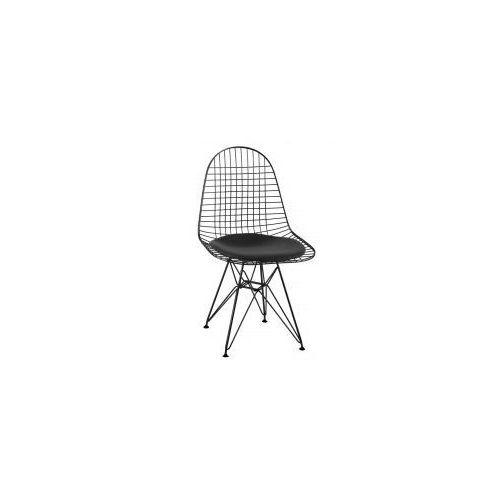 King home Krzesło metalowe dsr net black czarne - czarna poduszka