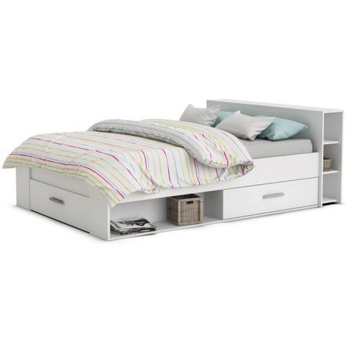 Łóżko LEONIS ze schowkami i szufladami - 140x190 cm - Biały