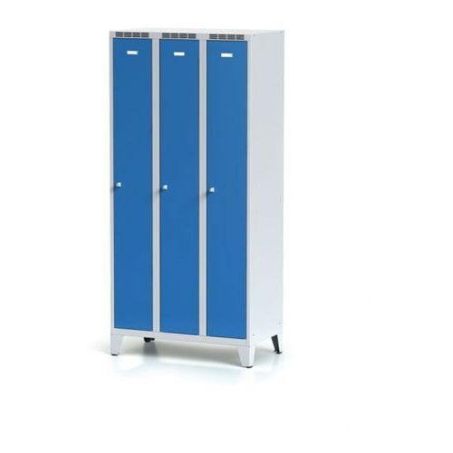 Alfa 3 Metalowa szafka ubraniowa trzydrzwiowa, na nogach, niebieskie drzwi, zamek obrotowy