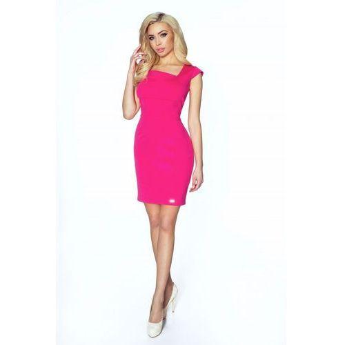Ołówkowa sukienka z geometrycznym dekoltem, kolor różowy