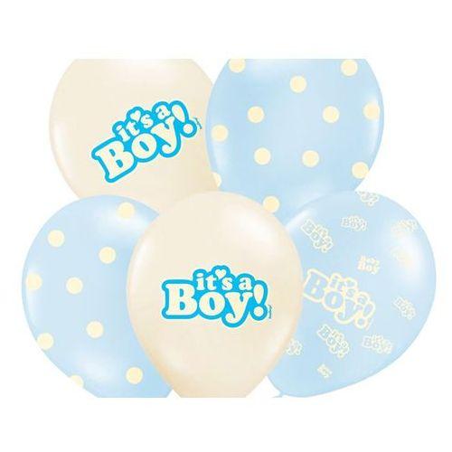 Balony pastelowe it's a boy - 30 cm - 5 szt. marki Party deco