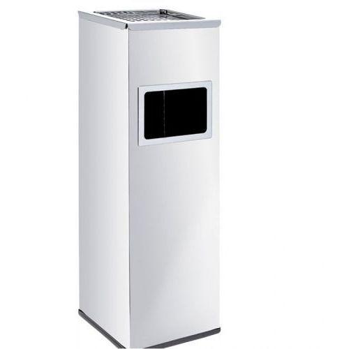 Kosz na śmieci z popielniczką i wewnętrznym pojemnikiem 22L, nierdzewny matowy