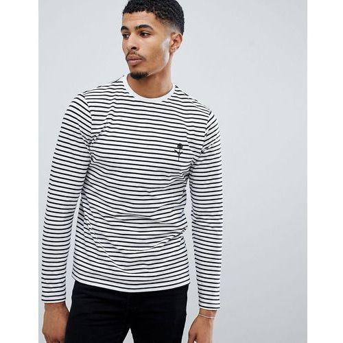 New Look long sleeve t-shirt with rose embroidery in white stripe - White