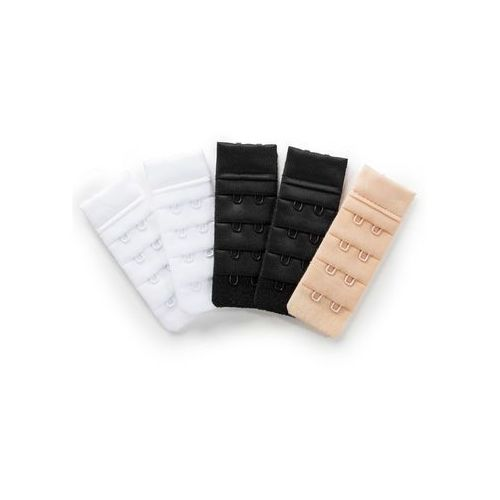 Przedłużenie biustonosza (5 szt.) z zapięciem na 2 haftki 2x biały + 2x czarny + 1x cielisty, Bonprix