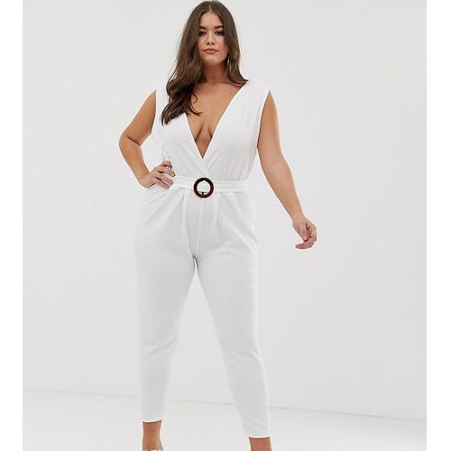 Asos design curve deep plunge jumpsuit with buckle belt and peg leg - white marki Asos curve