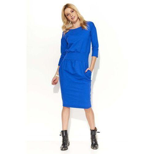 Chabrowa Sukienka Bombka z Kieszeniami, kolor niebieski