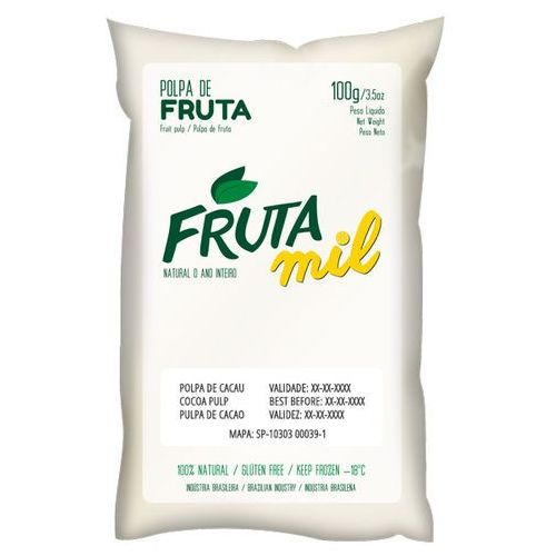 Kakao naturalny miąższ (puree owocowe, sok z miąższem) bez cukru marki Frutamil comércio de frutas e sucos ltda