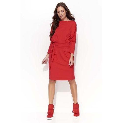 Czerwona sukienka odcinana w pasie z wiązaniem, Makadamia, 36-40