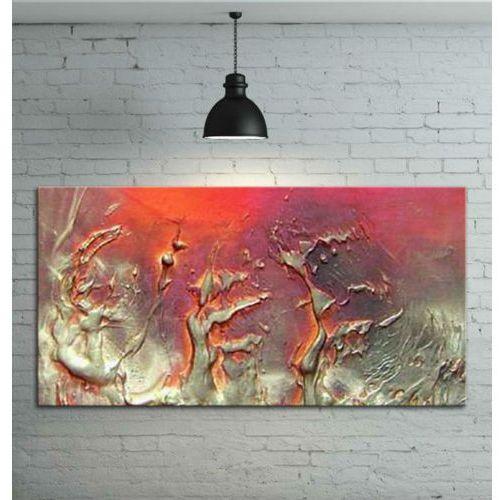 Obraz ręcznie malowany - grube złote faktury przeplatane z fioletem i różem 120x80
