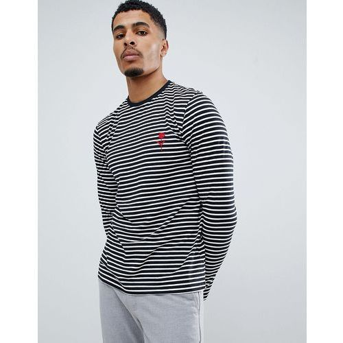 New Look long sleeve t-shirt in black stripe with rose embroidery - Black, w 2 rozmiarach