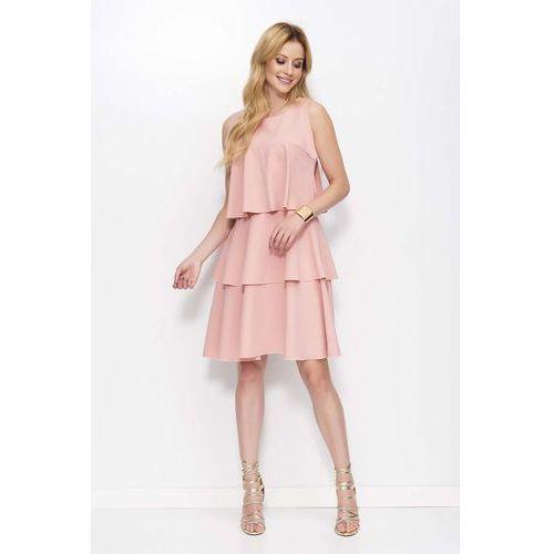 Różowa Sukienka z Falbankami bez Rękawów, kolor różowy