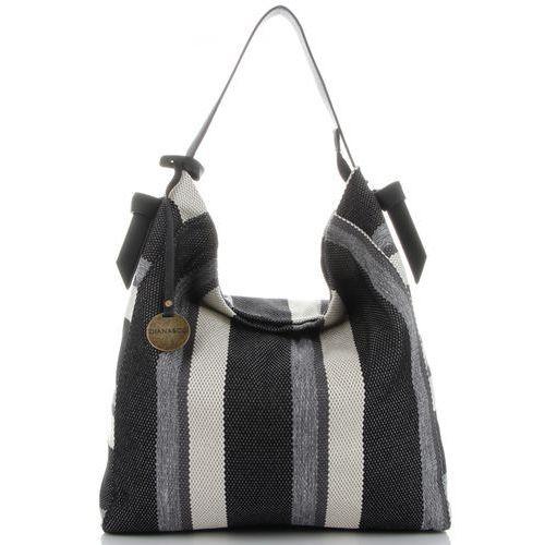 15b45131aa631 Diana co Firmowe torebki damskie xxl na co dzień wzór w modne paski marki  czarna (kolory) 129