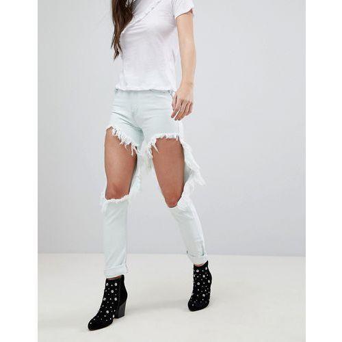 Glamorous Ripped Boyfriend Jeans - Blue, 1 rozmiar