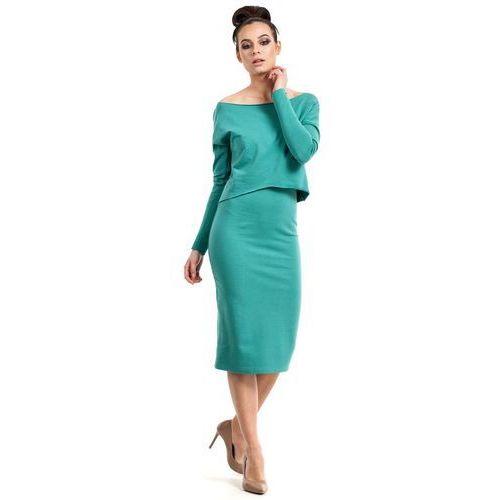 Zielona Sukienka Dopasowana Midi z Nakładką