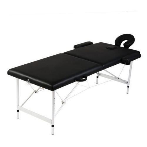 czarny składany stół do masażu 2 strefy z aluminiową ramą wyprodukowany przez Vidaxl