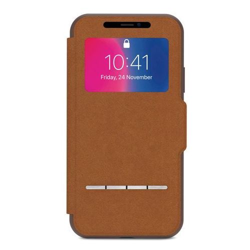 Moshi SenseCover - Etui z klapką dotykową + folia na ekran iPhone X (Caramel Brown) (4713057252495)