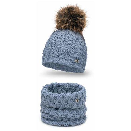 Komplet damski o grubym splocie- czapka i komin PaMaMi - Jeansowy, kolor niebieski