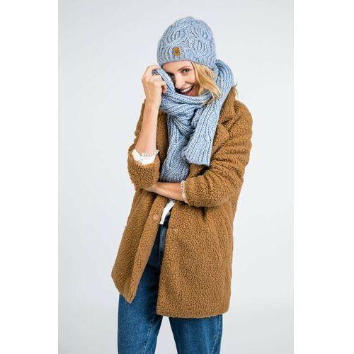 Ciepły komplet damski PaMaMi - czapka i szal - Camel, kolor brązowy