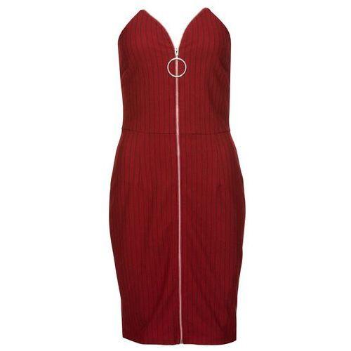 601cb8bec1 Sukienka z zamkiem z przodu czerwono-czarny