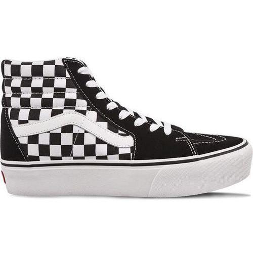 sk8 hi platform 2 qxh checkerboard true white - buty sneakersy marki Vans