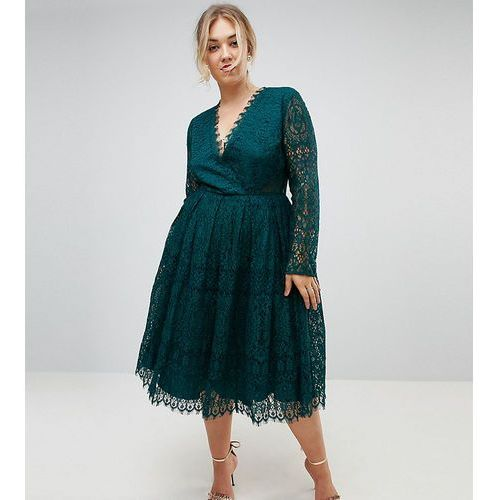 long sleeve lace midi prom dress - green, Asos curve
