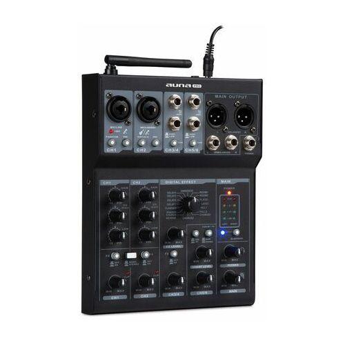 Auna pro blackbird 6-kanałowy pulpit mikserski, bt, usb, mp3, 2 x microxlr, kolor czarny