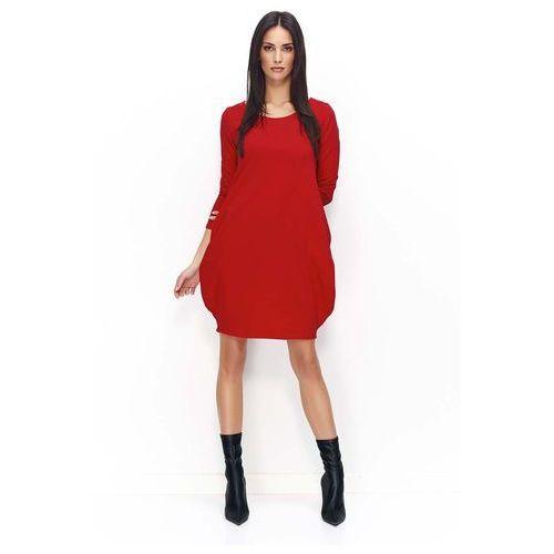 Czerwona dresowa mini sukienka bombka, Makadamia, 36-46