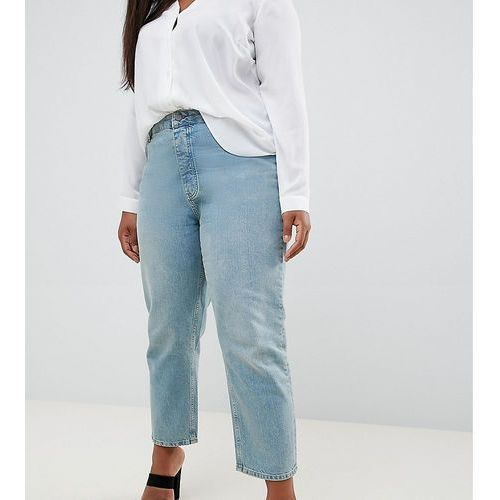 Asos curve Asos design curve florence authentic straight leg jeans in light green cast - blue