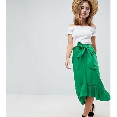 ASOS DESIGN Petite cotton midi skirt with tie belt and ruffle hem - Green