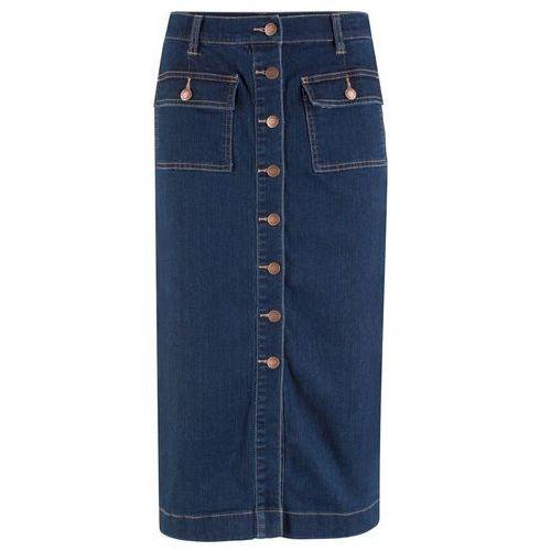 Spódnica dżinsowa ze stretchem midi ciemnoniebieski marki Bonprix