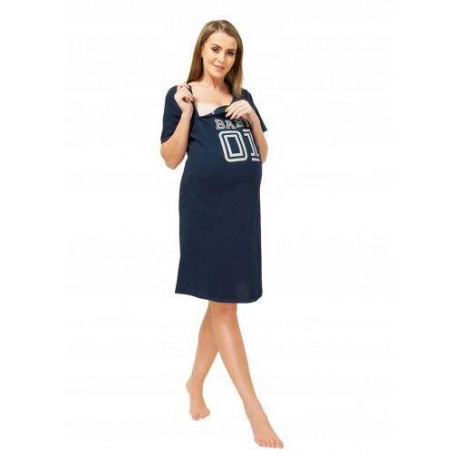 Koszula nocna ciążowa i do karmienia na napy Baby 01 - granatowa, kolor niebieski
