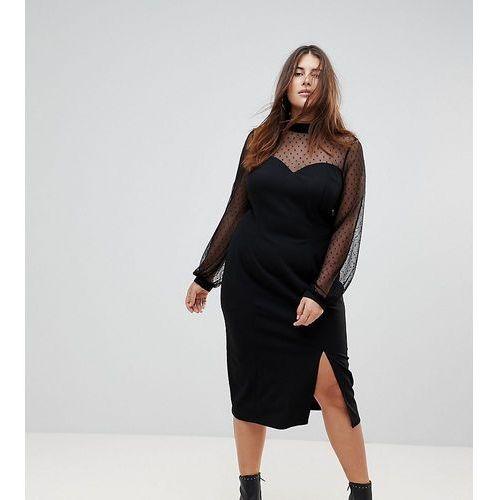 long sleeve dobby mesh sweetheart neck midi dress - black marki Asos curve