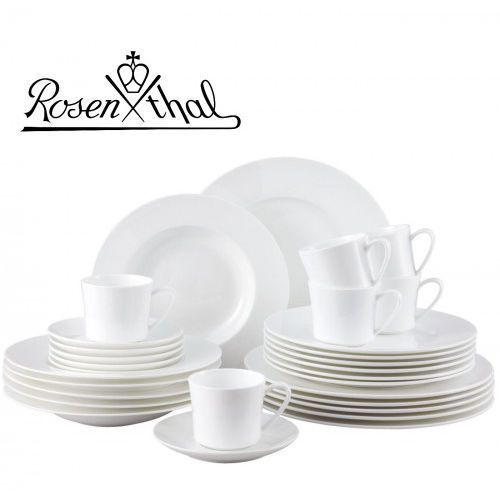jade serwis obiadowo - kawowy 30el - biały, zestaw, porcelana premium fine bone marki Rosenthal