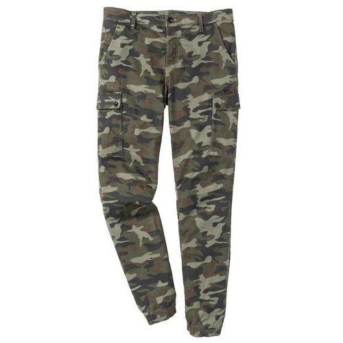 Bonprix Spodnie bojówki ze stretchem slim fit straight oliwkowy moro