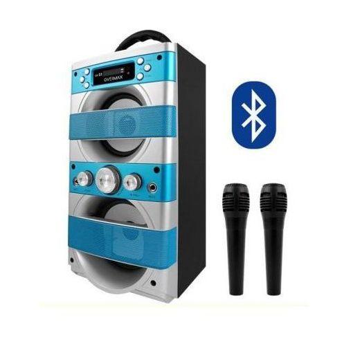 Overmax Zestaw do karaoke (blue) + 2 mikrofony + bluetooth + radio + usb/sd + mp3 + podświetlenie itd.