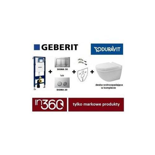 Geberit Duravit Starck 3 Zestaw Stelaż podtynkowy z miską wc wiszącą, deska w/o (111.320.00.5+111.815.00.1+115.883.KH.1+2225090000+0063890000) IN.000Z310 - produkt z kategorii- Stelaże i zestawy podtynkowe