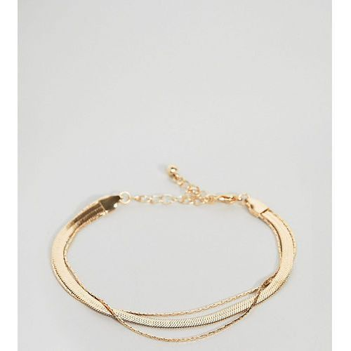 Asos curve Asos design curve multirow bracelet with vintage style flat snake chain in gold - gold