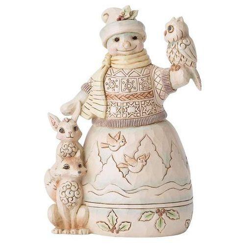Leśny Bałwanek z zwierzętami Up To Snow Good (White Woodland Snowman with Owl) 6001416 Jim Shore figurka ozdoba świąteczna