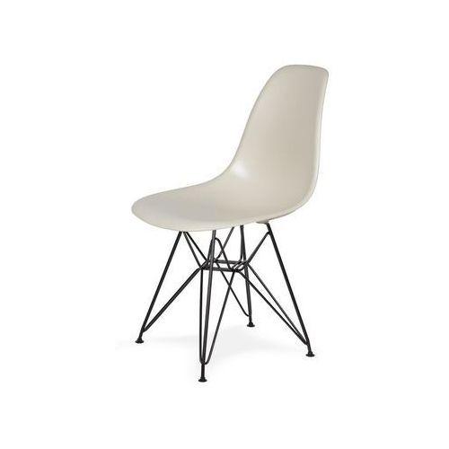 King home Krzesło plastikowe dsr black migdał pralinowy.29 - podstawa metalowa czarna