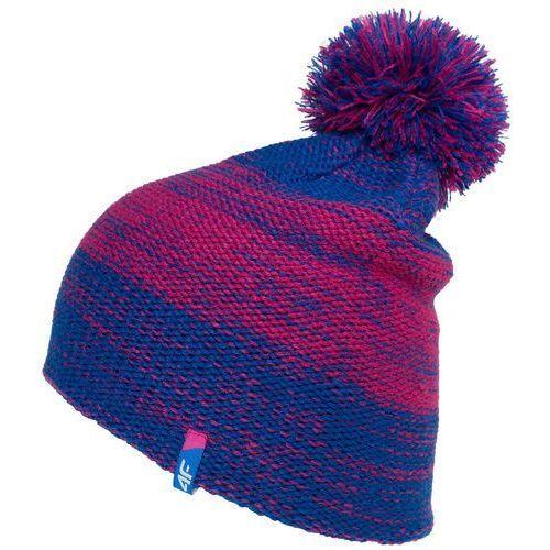 4f Damska ciepła czapka z18 cad006 35m niebieski / różowy s/m
