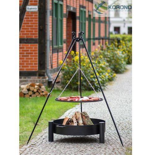 Grill na trójnogu z rusztem ze stali czarnej + palenisko ogrodowe 50 cm / 60 cm, marki Korono