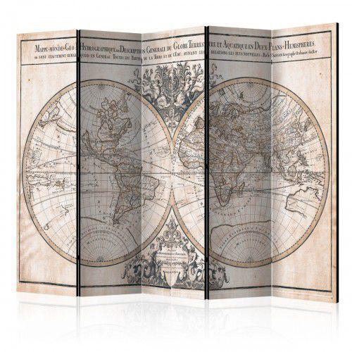 Parawan 5-częściowy - Mappe-Monde Geo-Hydrographique [Room Dividers], A0-PARAVENT108 (7810514)