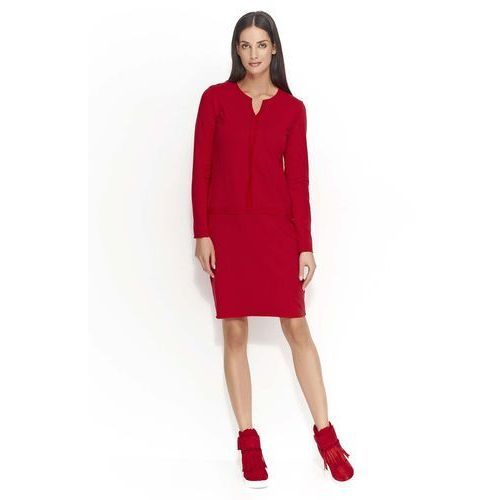 Czerwona sukienka z ozdobnymi szwami, Makadamia, 36-46