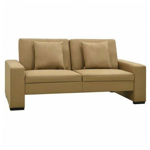 Dwuosobowa rozkładana sofa z ekoskóry cappuccino - Arroseta 2S