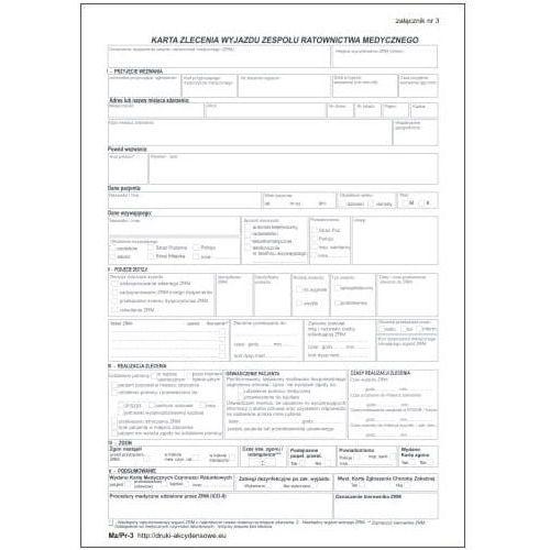 Karta zlecenia wyjazdu zespołu ratownictwa medycznego / zał nr 3 [Mz/Pr-3]