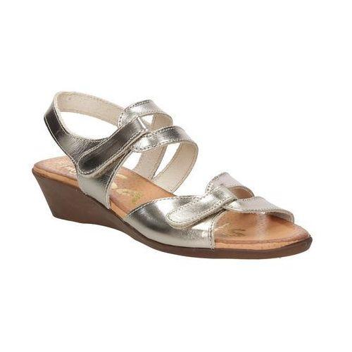 Sandały skórzane na koturnie Oh My Sandals 3461, kolor brązowy
