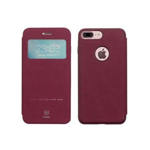 Apple iPhone 7 Plus - etui na telefon Baseus Simple Series Leather Case - czerwone, kolor czerwony