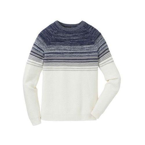Sweter w cieniowanym kolorze Regular Fit bonprix biel wełny - niebiesko-jasnoniebieski, w 5 rozmiarach