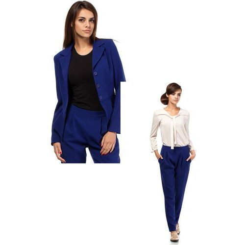 Zestaw Taliowany krótki żakiet i spodnie chino chabrowe, kolor niebieski