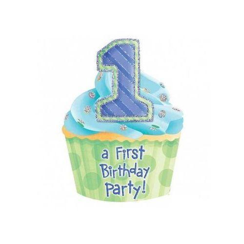 """Zaproszenie na roczek dla chłopca niebieskie """"1st Birthday Party"""" - 1 szt."""